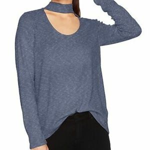 Calvin Klein Jeans Ribbed Choker Casual Top Blue